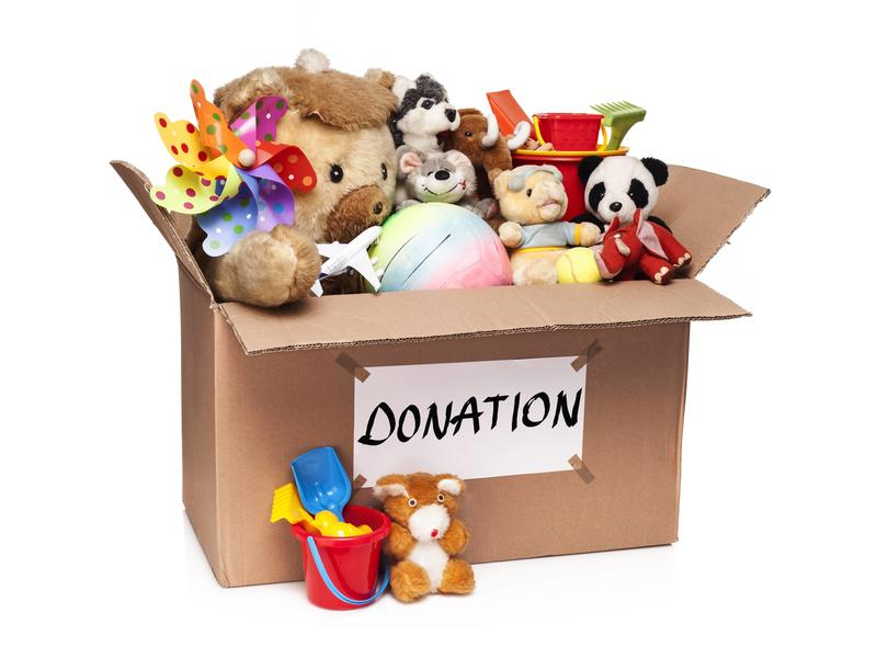 Box of donated toys